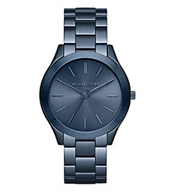 Michael Kors® Women's Slim Runway Navy IP Three-Hand Watch