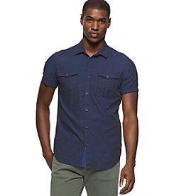 Calvin Klein Jeans® Men's Slub Herringbone Utility Short Sleeve Button Down Shirt