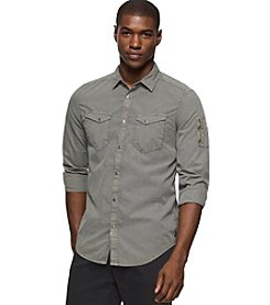 Calvin Klein Jeans® Men's Garment Dyed Aviator Long Sleeve Button Down Shirt