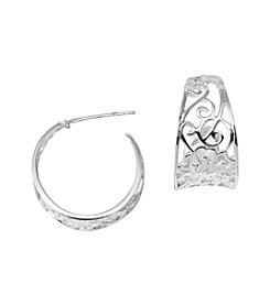 Marsala Sterling Silver Floral Scroll Hoop Earrings