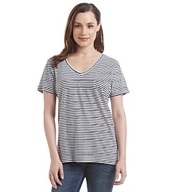 Marc New York Performance Striped V-Neck Tee