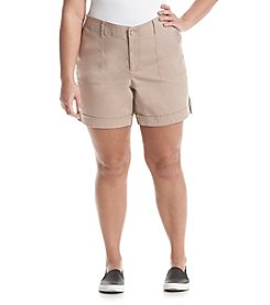 Gloria Vanderbilt® Plus Size Frida Twill Cuff Shorts