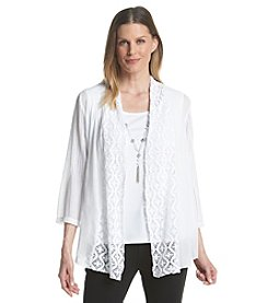 Alfred Dunner® White Now Lace Mix Media Layered Look Top