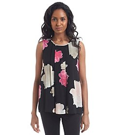 Calvin Klein Pleated Floral Blouse