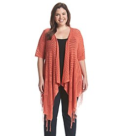 Oneworld® Plus Size Crochet Fringe Cardigan