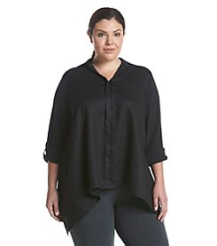 Calvin Klein Performance Plus Size Solid Roll Sleeve Top
