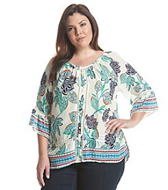 Democracy Plus Size Floral Print Flounce Top