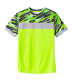 Mambo® Boys' 8-20 Short Sleeve Printed Chest Stripe Tee