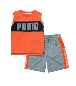 PUMA® Boys' 2T-7 2-Piece Logo Muscle Tank And Shorts Set
