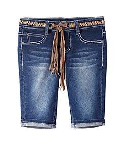 Squeeze® Girls' 7-16 Rollcuff Bermuda Shorts With Fringe Belt