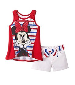 Disney® Girls' 2T-6X All American Minnie Mouse® Printed Tank And Shorts Set