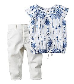 Carter's® Baby Girls' Geo Printed Top And Denim Pants Set