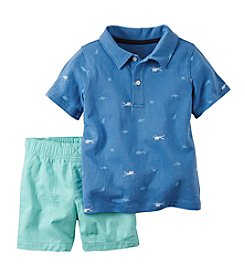 Carter's® Baby Boys Shark Printed Polo And Shorts Set