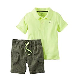 Carter's® Baby Boys Polo And Map Printed Shorts Set