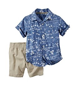 Carter's® Baby Boys Map Printed Shirt And Shorts Set