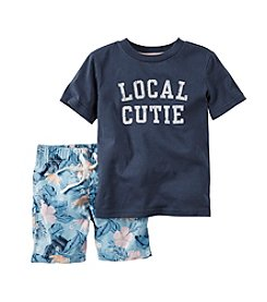 Carter's® Baby Boys Local Cutie Printed Tee And Floral Shorts Set