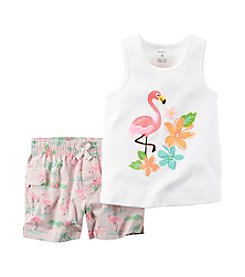 Carter's® Baby Girls' Flamingo Printed Tank And Shorts Set