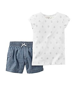 Carter's® Baby Girls' Printed Tee And Shorts Set