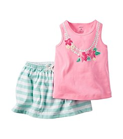 Carter's® Baby Girls' Flower Necklace Printed Tank And Scooter Set