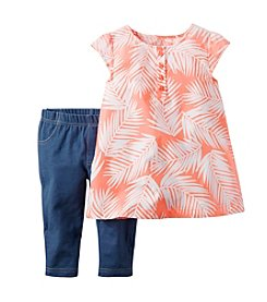Carter's® Baby Girls' Palm Printed Top And Jeggings Set