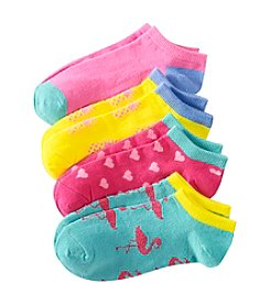 Miss Attitude Girls' 4-Pack Hearts And Flamingo Printed Low-Cut Socks
