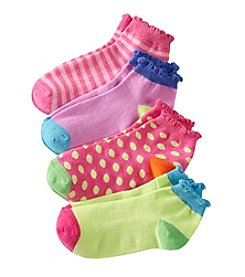 Miss Attitude Girls' 4-Pack Flecks And Stripes Printed Quarter-Crew Socks