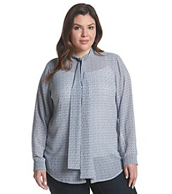 MICHAEL Michael Kors® Plus Size Printed Tie Neck Top
