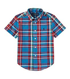 Ralph Lauren Childrenswear Boys' 8-20 Short Sleeve Plaid Button Down Shirt