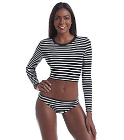 Vince Camuto® Striped Crop Top Cover-Up