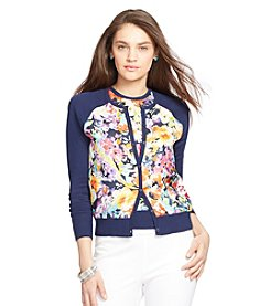 Lauren Ralph Lauren® Silk-Panel Knit Cardigan