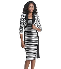 R&M Richards® Petites' Wavy Striped Knit Bolero Sheath Jacket Dress