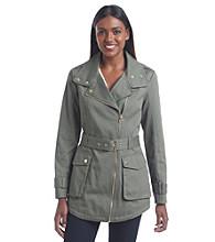 GUESS All Weather Asymmetrical Zipper Coat