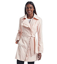 Jessica Simpson Ruffle Belted Trench Coat