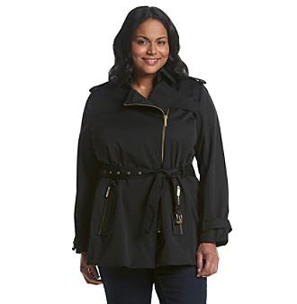 MICHAEL Michael Kors® Plus Size Zip Detail Trench Coat plus size,  plus size fashion plus size appare