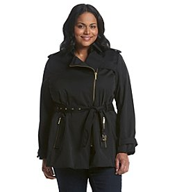 MICHAEL Michael Kors® Plus Size Zip Detail Trench Coat