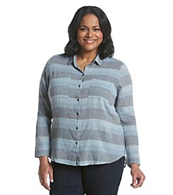 Ruff Hewn Plus Size High Low Stripe Top