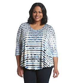 Oneworld® Plus Size Stripe Sheer Overlay Top