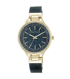 Anne Klein® Dark Denim Goldtone Bangle Watch