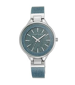 Anne Klein® Light Denim Silvertone Bangle Watch