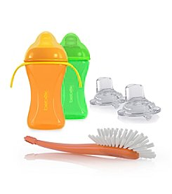 Bebek® Soft & Flexible 8-oz. Spout Cups with Handles Plus Extra Spouts and Bottle Brush Combo