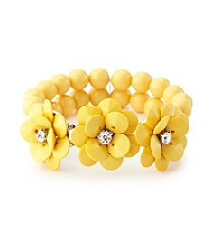 Studio Works® Two-Row Beaded Flower Stretch Bracelet