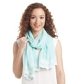 Basha Solid Oblong Cutout Embroidery Scarf