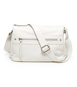 GAL Leather Embossed Top Zip Crossbody