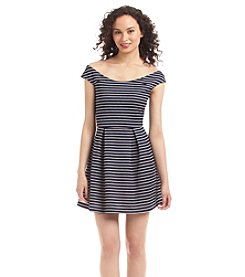 Emerald Sundae® Striped Scuba Skater Dress