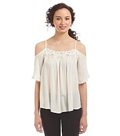 Sequin Hearts® Lace Cold Shoulder Top