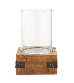 Ruff Hewn Small Metal & Wood Candle Holder