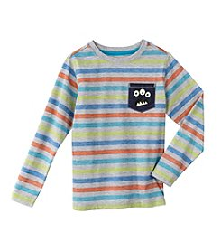 Mix & Match Boys' 4-7 Long Sleeve Monster Pocket Striped Tee