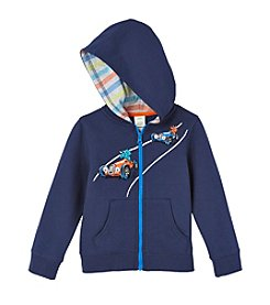 Mix & Match Boys' 2T-4T Long Sleeve Racing Dinosaurs Fleece Zip Hoodie