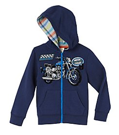 Mix & Match Boys' 4-7 Long Sleeve Motorcycle Zip Hoodie