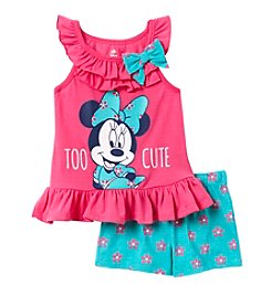 Disney® Baby Girls' Too Cute Minnie Mouse® Printed Tank And Floral Shorts Set